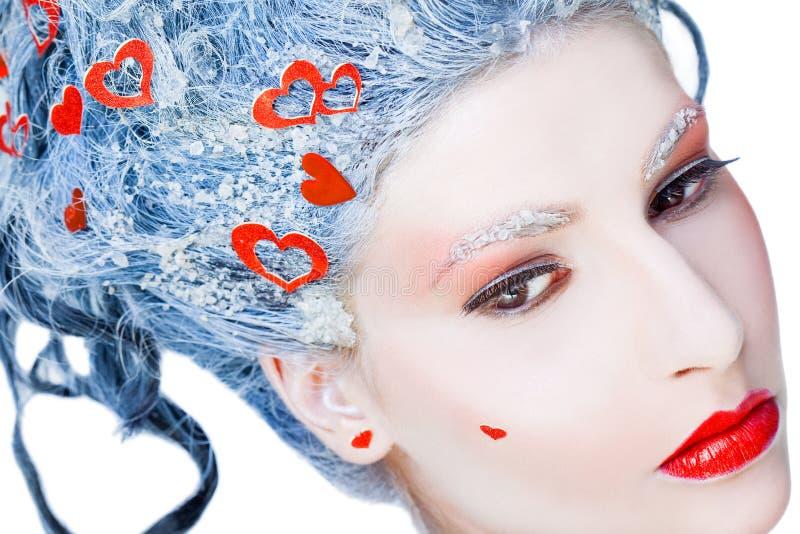 Portrait of frozen woman face stock photography