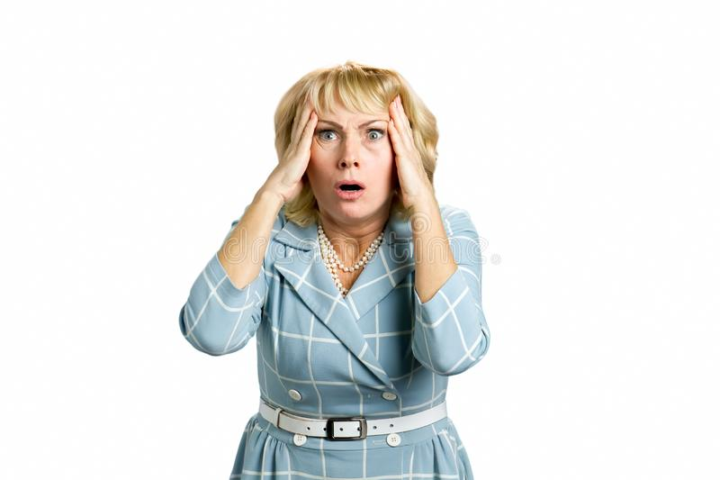 Portrait of frustrated mature woman. royalty free stock photo