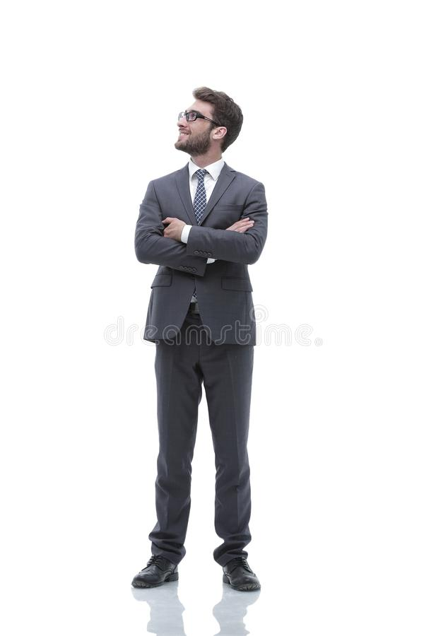 Portrait in full growth of a serious confident businessman stock photos