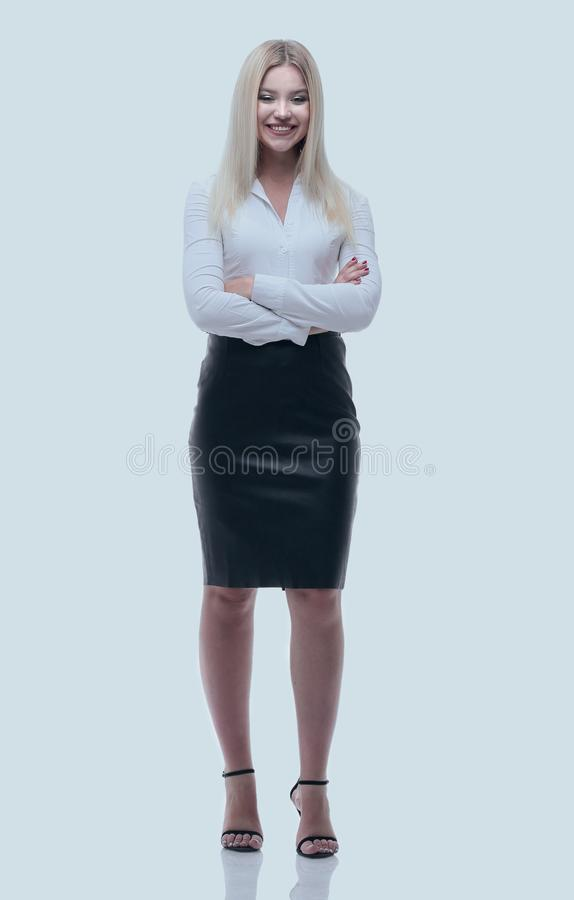 Portrait in full growth, a young business lady. royalty free stock photography