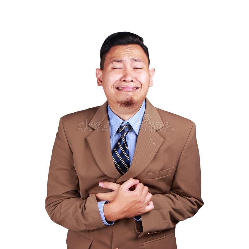 Funny Asian Businessman Crying Hard royalty free stock photography