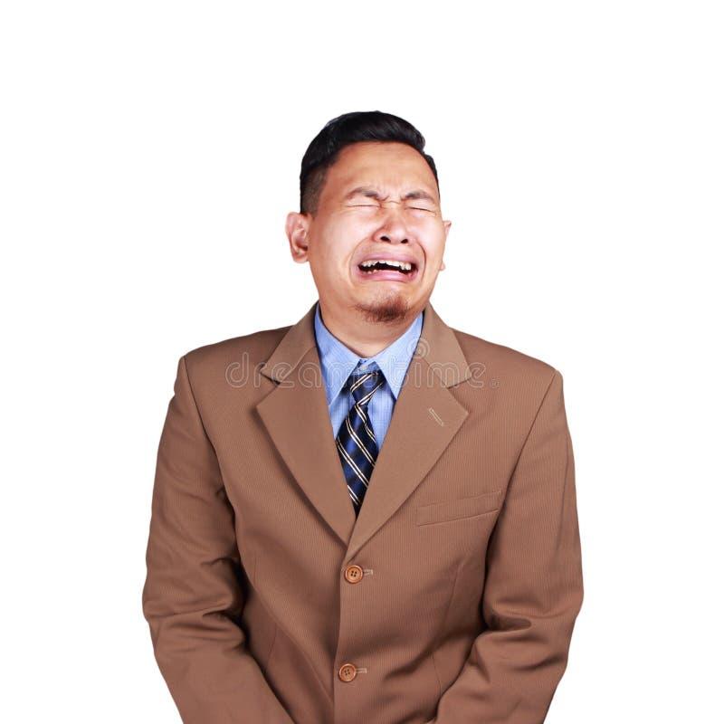Funny Asian Businessman Crying Hard royalty free stock image