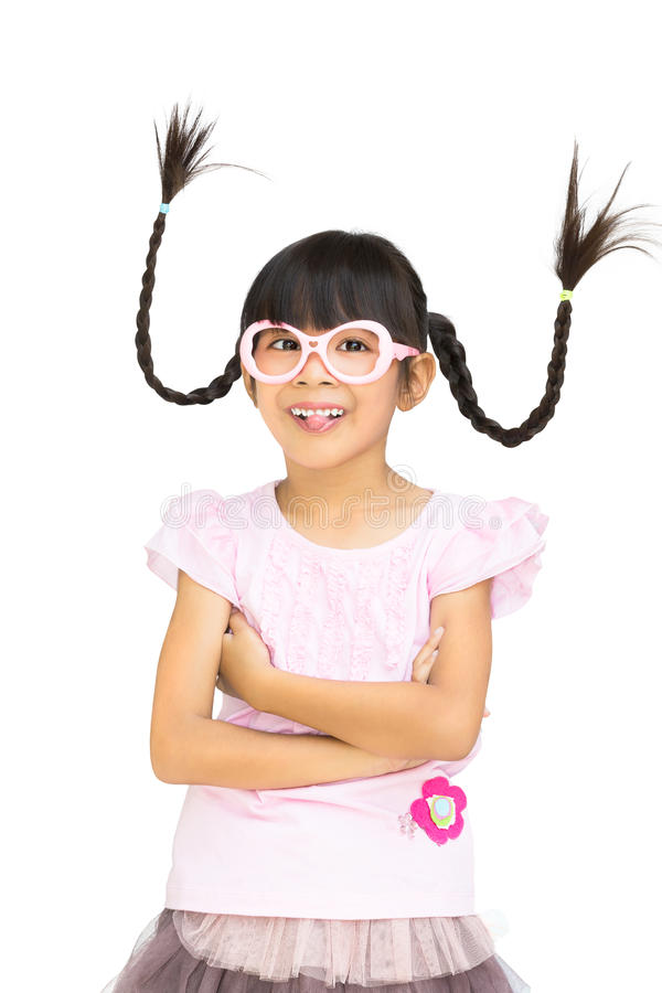 Portrait funny asian little girl with pigtail hair stock photography