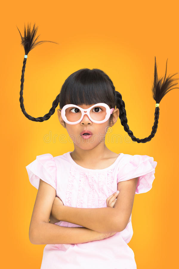 Free Portrait Funny Asian Little Girl With Pigtail Hair Stock Photo - 27700390