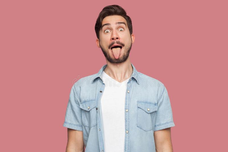 Portrait of funny crazy handsome bearded young man in blue casual style shirt standing with big eyes, tongue out and looking at. Camera. indoor studio shot royalty free stock photo
