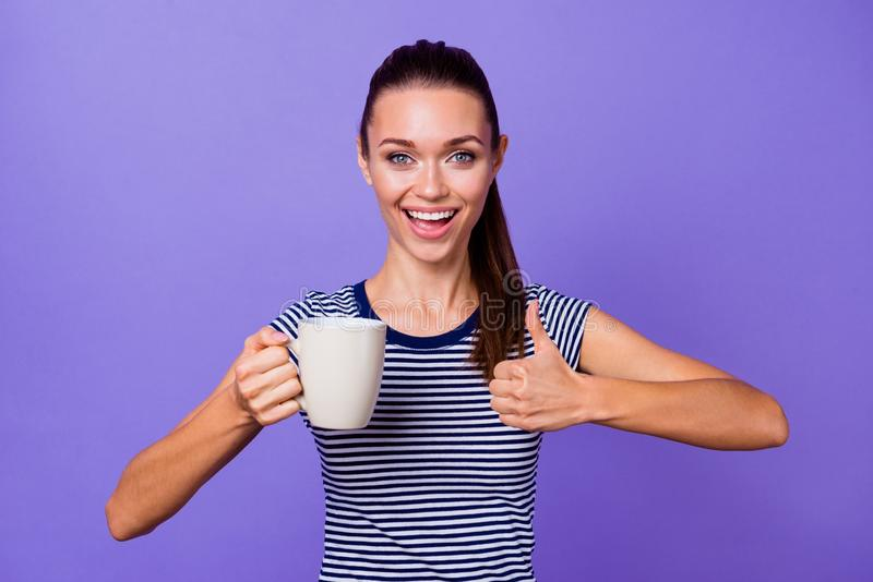 Portrait funny funky cute lady millennial demonstrate cheerful beautiful ads adverts choice decision excellent beverage royalty free stock photography