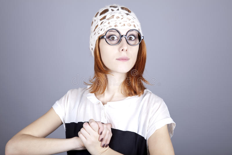 Download Portrait Of Funny Girl In Glasses And White Cap. Stock Photo - Image: 16639274