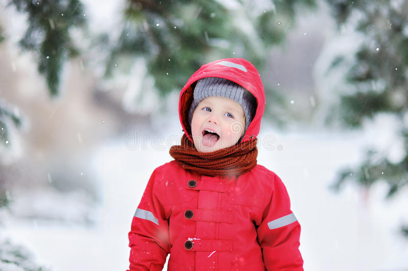 Portrait of funny little boy in red winter clothes having fun in snowfall stock photography