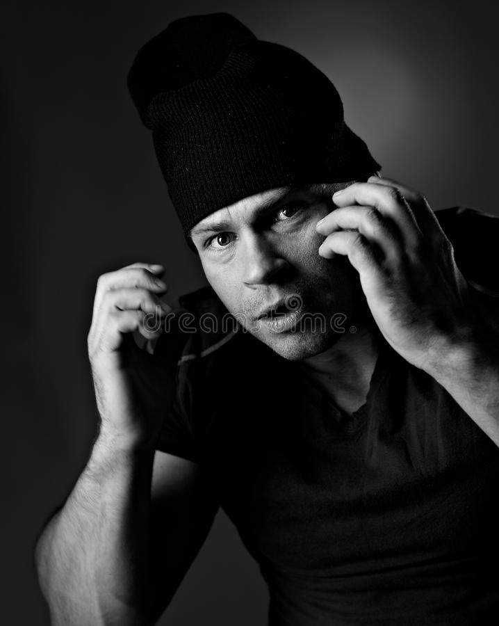 Portrait of funny man. In hat royalty free stock images