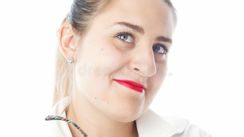 Isolated portrait of funny smiling woman with red lipstick stock image
