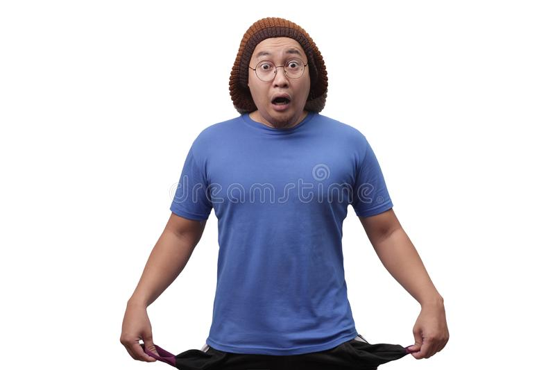 Funny Man Shows Empty Pocket stock images