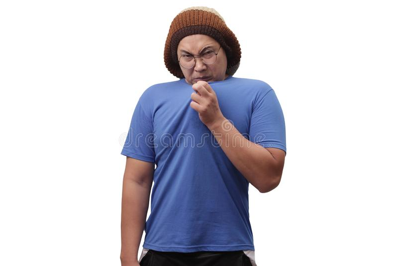 Man Having Bad Body Odor stock photography