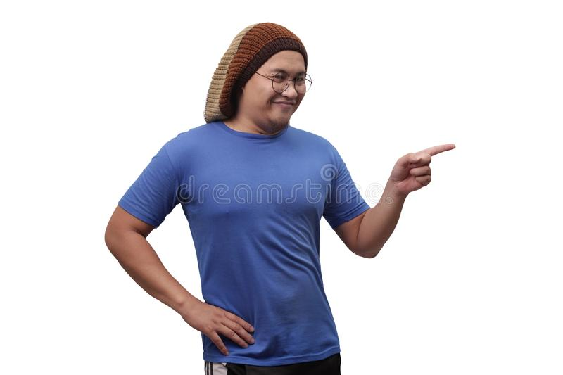 Asian Man Presenting Something on His Side with Copy Space stock images