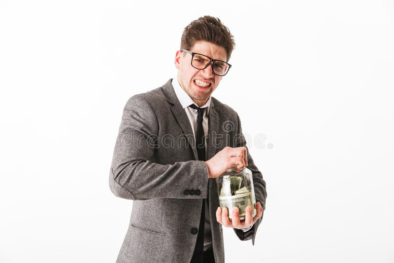 Portrait of a funny young businessman stock image