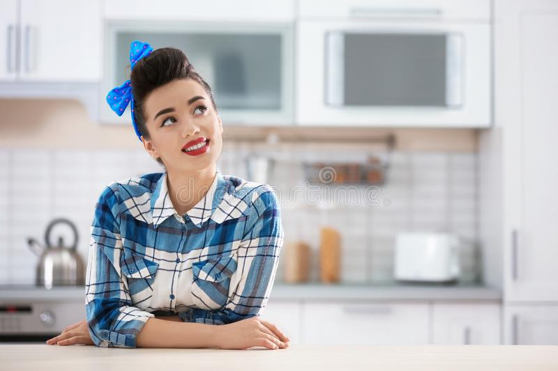 Portrait of funny young housewife royalty free stock photos