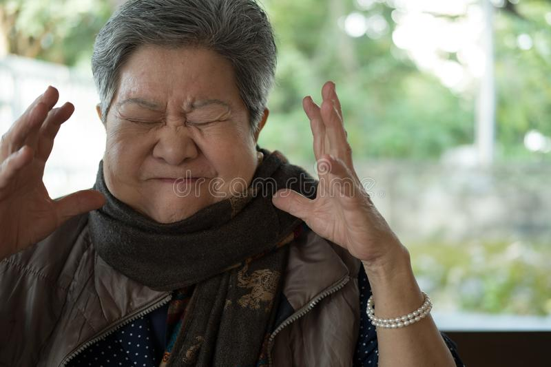 Portrait of furious elder woman, enraged elderly female, angry s stock photo