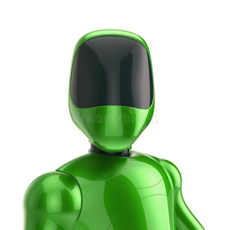 Portrait futuriste de robot vert avatar artificiel de caractère de cyborg illustration stock