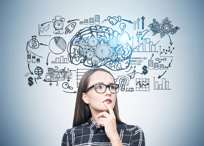Portrait of a geek girl in glasses, brain scheme. Portrait of a geek girl in glasses standing near a gray wall with a copybook and a brain with gears on top of royalty free illustration