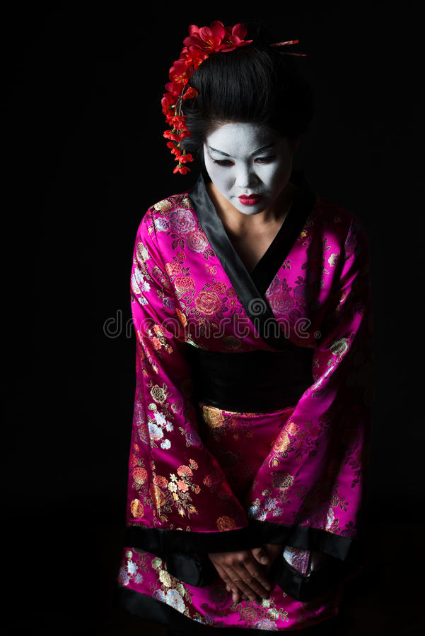 Portrait of geisha welcome with respect stock images
