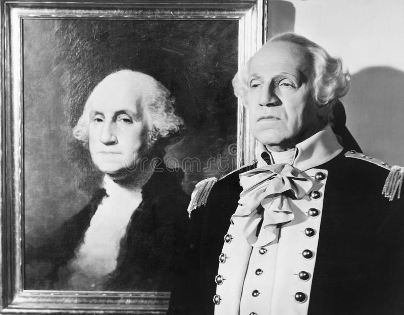 Portrait of George Washington with an impersonator next to the image. (All persons depicted are no longer living and no estate exists. Supplier grants that vector illustration