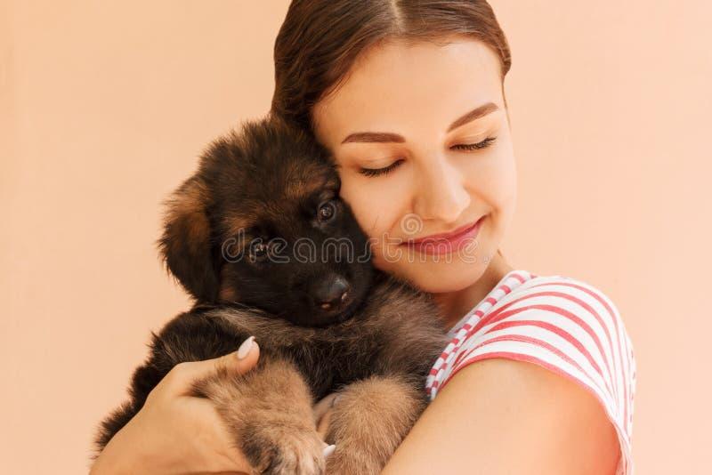 Portrait of German shepherd puppy posing on woman`s hands.  royalty free stock photo