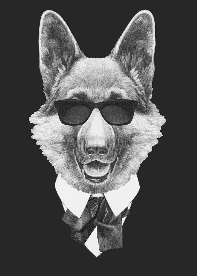 Portrait of German Shepherd in suit. royalty free illustration