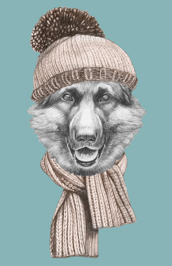 Portrait of German Shipherd with hat and scarf, hand-drawn illustration. Hand drawn illustration of animal vector illustration