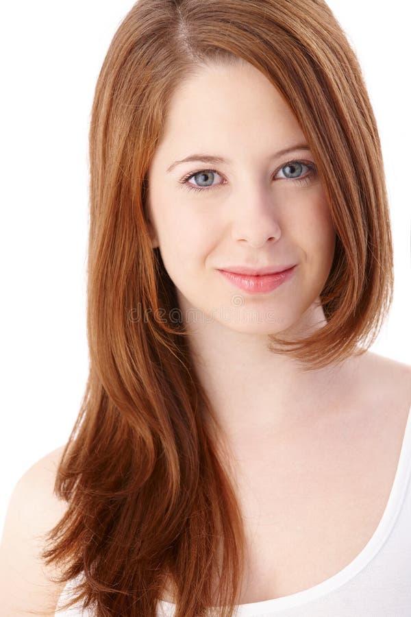 Portrait of gingerish teenage girl smiling stock photos
