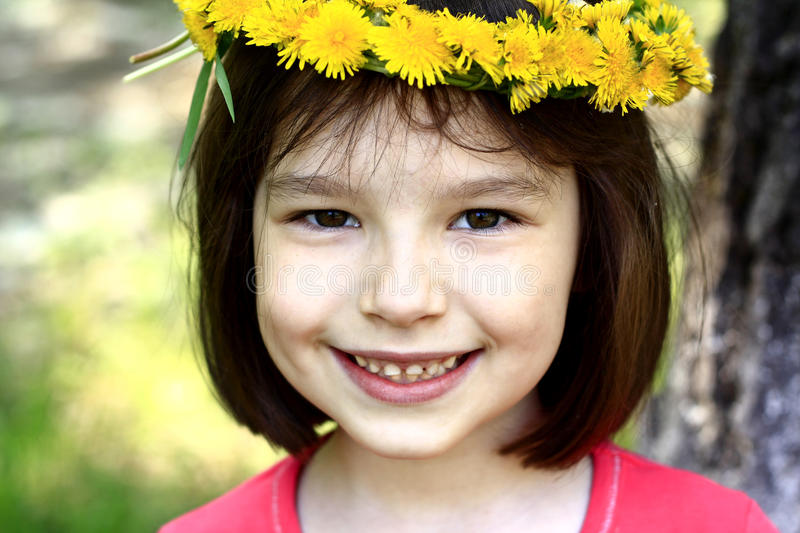 Download Portrait of girl stock photo. Image of yellow, dandelion - 24668312