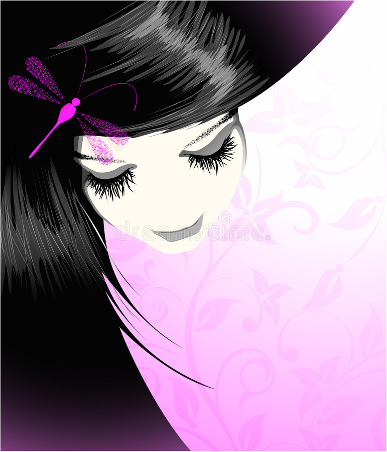 Download Portrait of the girl stock vector. Image of lips, illustration - 5599727