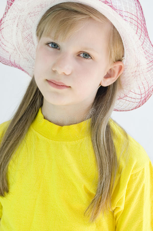Portrait of a girl 8 years stock photo