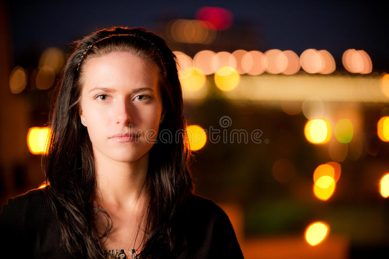 Download Portrait Of Girl Against Night City Stock Photo - Image: 14028066