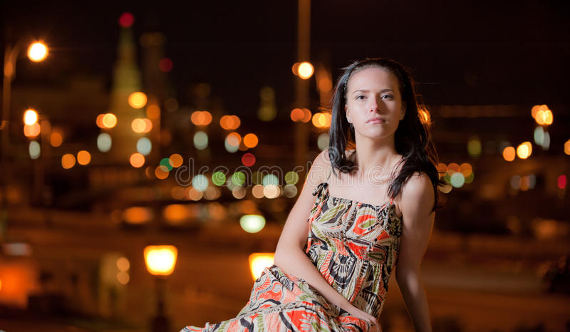 Download Portrait Of Girl Against Night City Stock Image - Image: 14028067