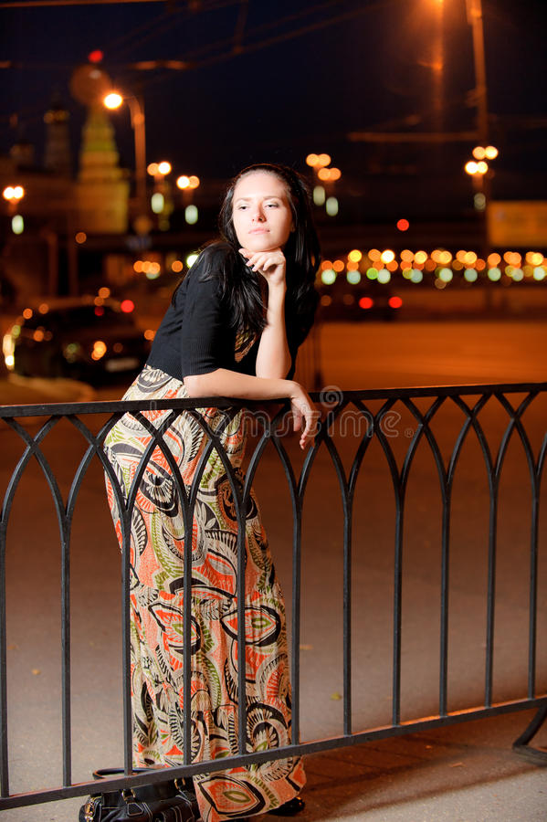 Download Portrait Of Girl Against Night City Stock Image - Image: 14382679