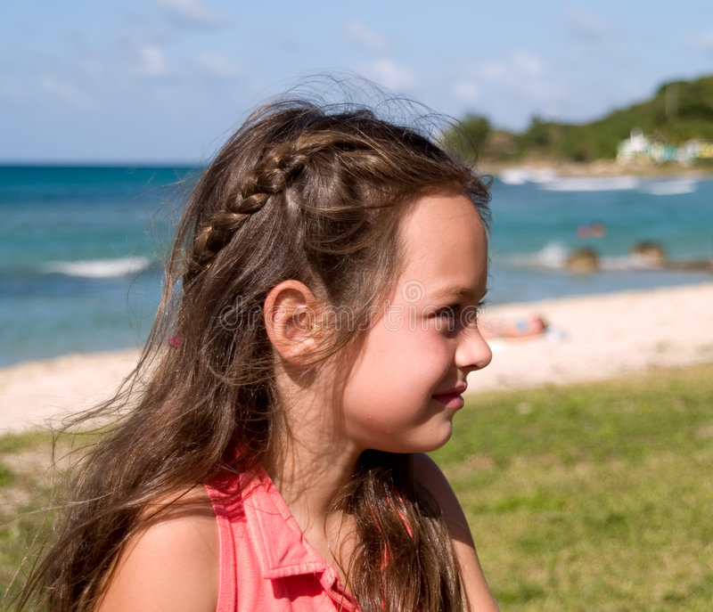 Portrait of girl on beach royalty free stock photo