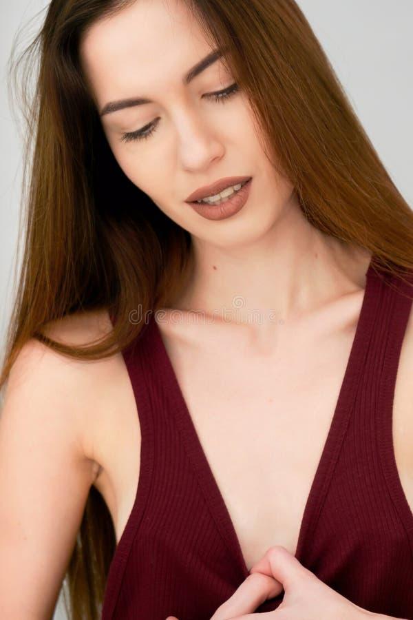 Portrait,portrait of a girl,beautiful portrait,portrait of a girl with a beautiful fair skin stock photo