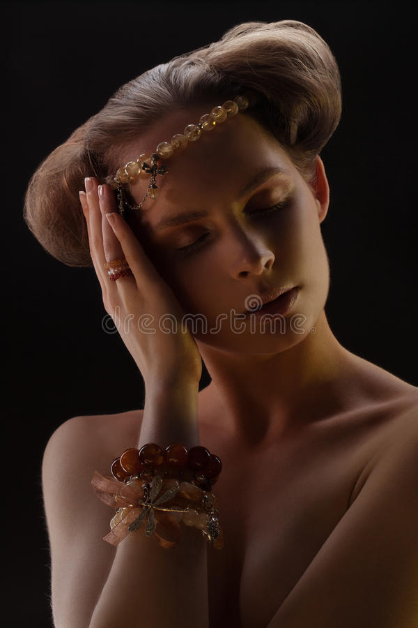 Download Portrait of girl in bijou stock photo. Image of bracelet - 32368034