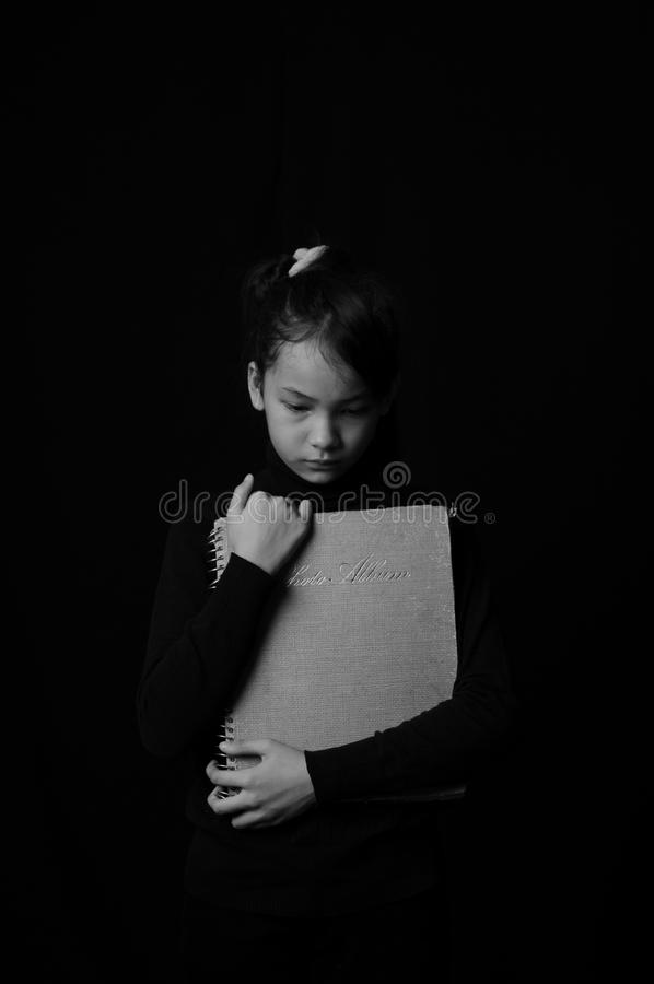 Portrait of girl in black and white stock photo