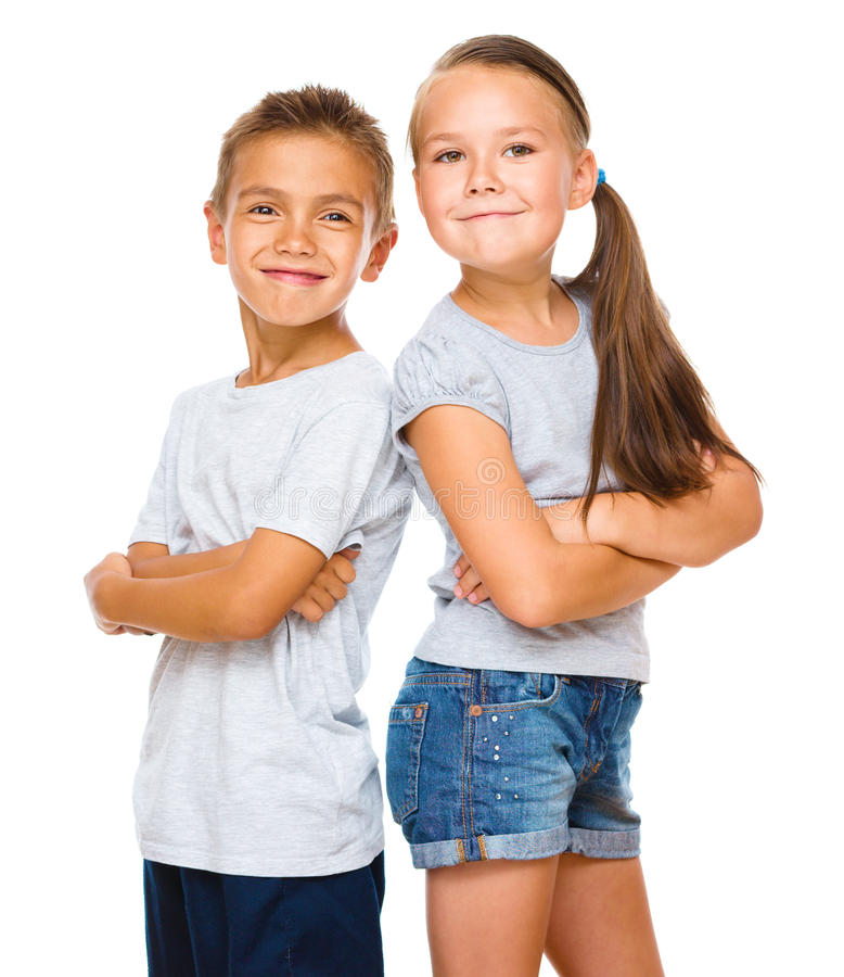 Portrait of girl and boy. Portrait of cute girl and boy, isolated over white stock image