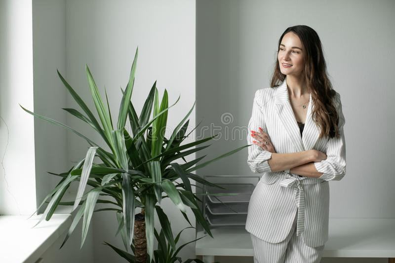 Portrait of a girl in a office stock photo