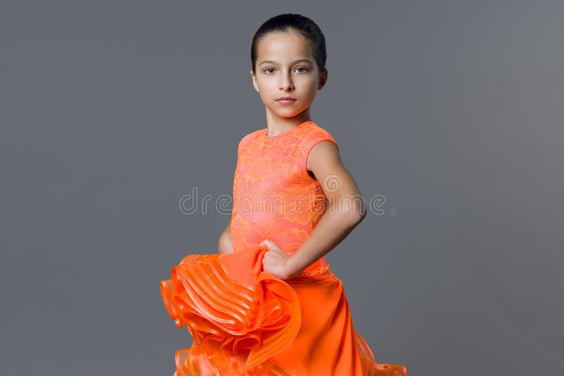 Portrait of a girl child 9-10 years old dancer. Sports ballroom dancing, latino. royalty free stock image
