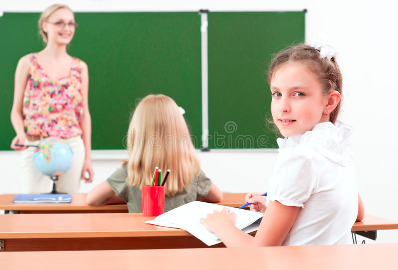 Portrait of the girl in the class stock photo