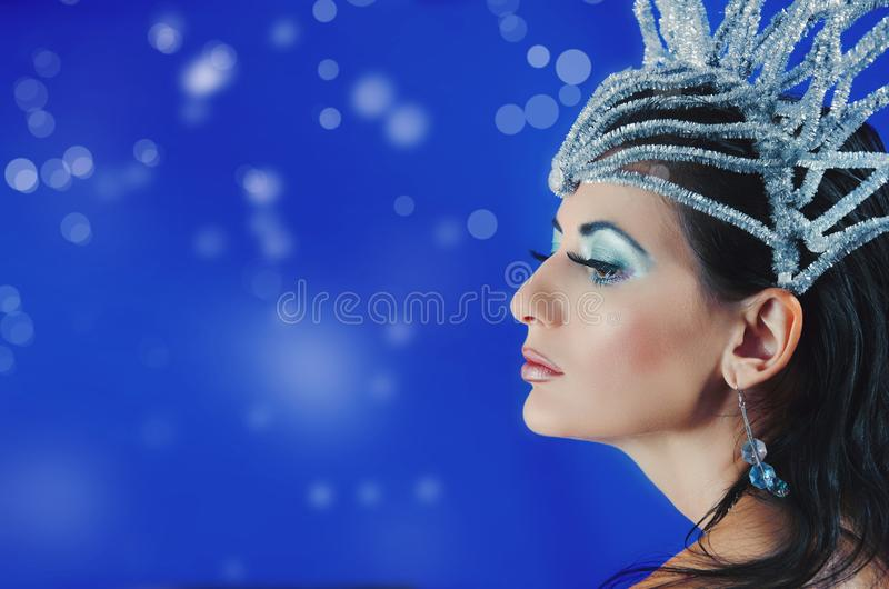 Portrait of a girl with a crown on her head stock photos