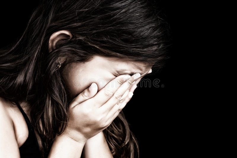 Download Portrait Of A Girl Crying And Hiding Her Face Stock Photo - Image of embarassment, emotion: 25546476