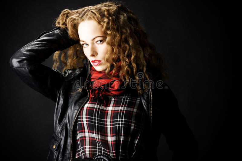 Portrait of a girl with curly hair royalty free stock photo