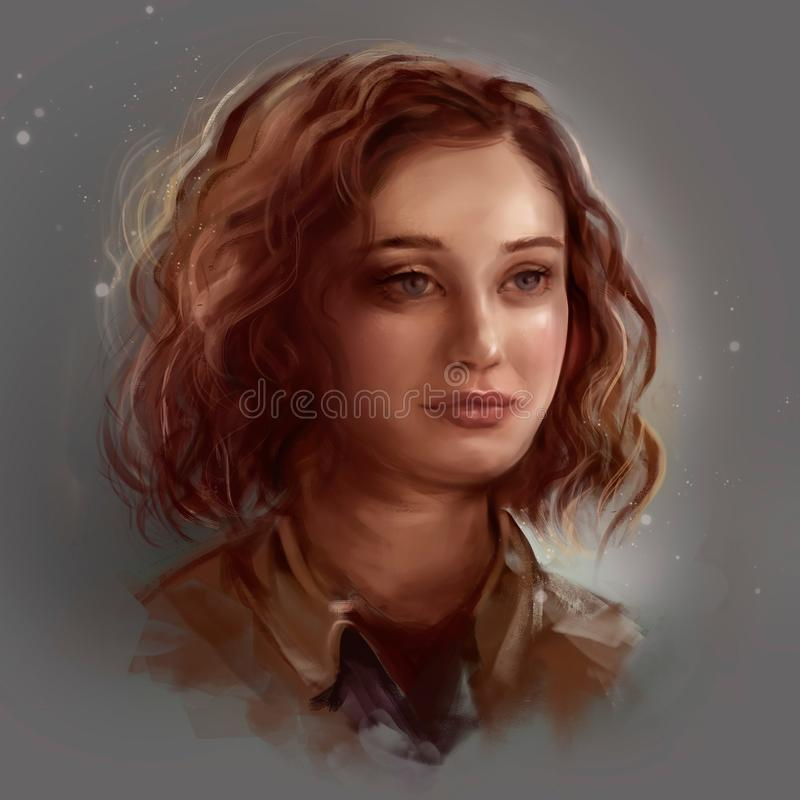 Portrait of a girl with curly hair.  royalty free illustration
