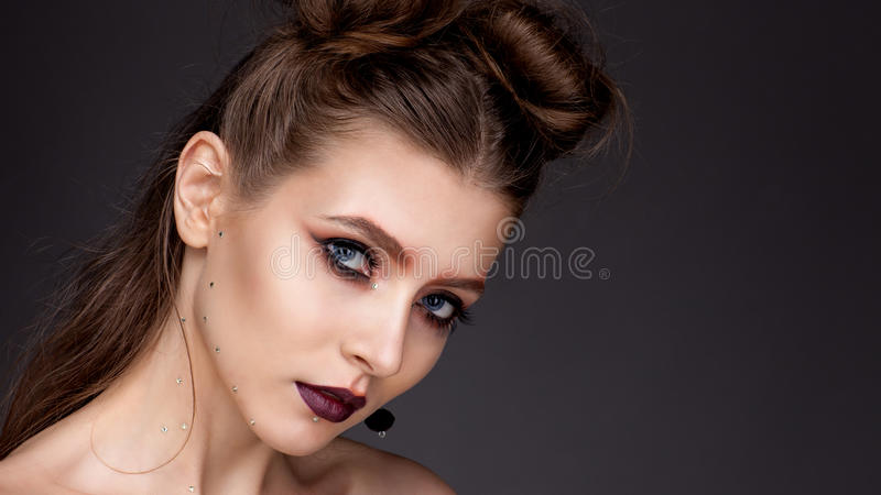 Portrait of a girl with expressive eyes royalty free stock photo