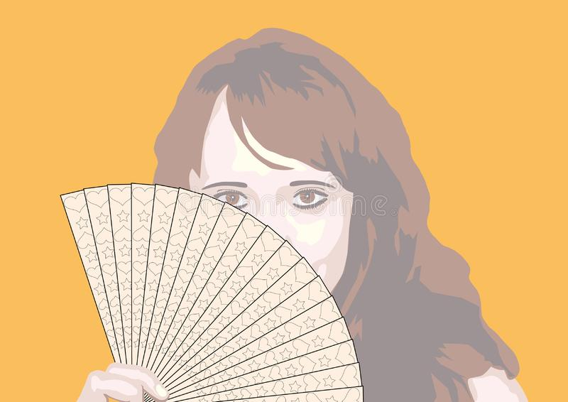 Download Portrait Of The Girl With Fan Stock Vector - Illustration of face, model: 7986628