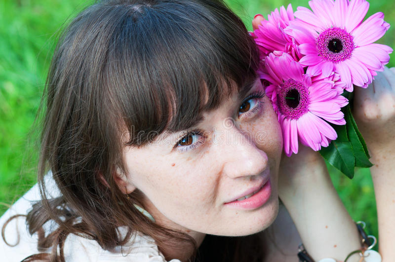 Download Portrait Of A Girl With Flowers Stock Image - Image of hair, flowers: 26494699