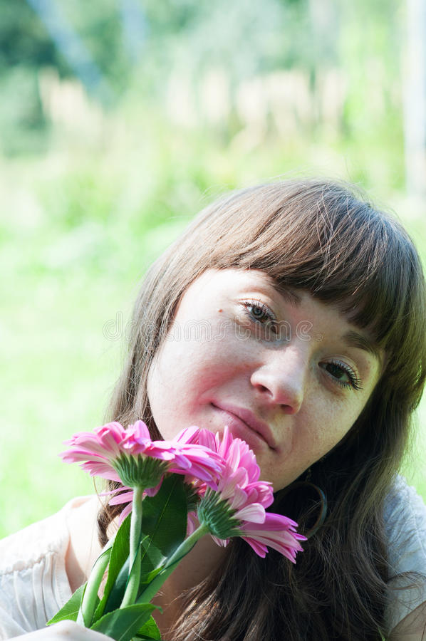 Download Portrait Of A Girl With Flowers Stock Image - Image: 26494717